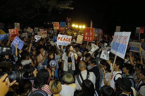 Wakaki Fukuda at a protest