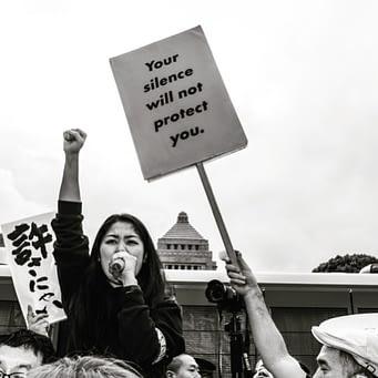 Fukuda at a protest